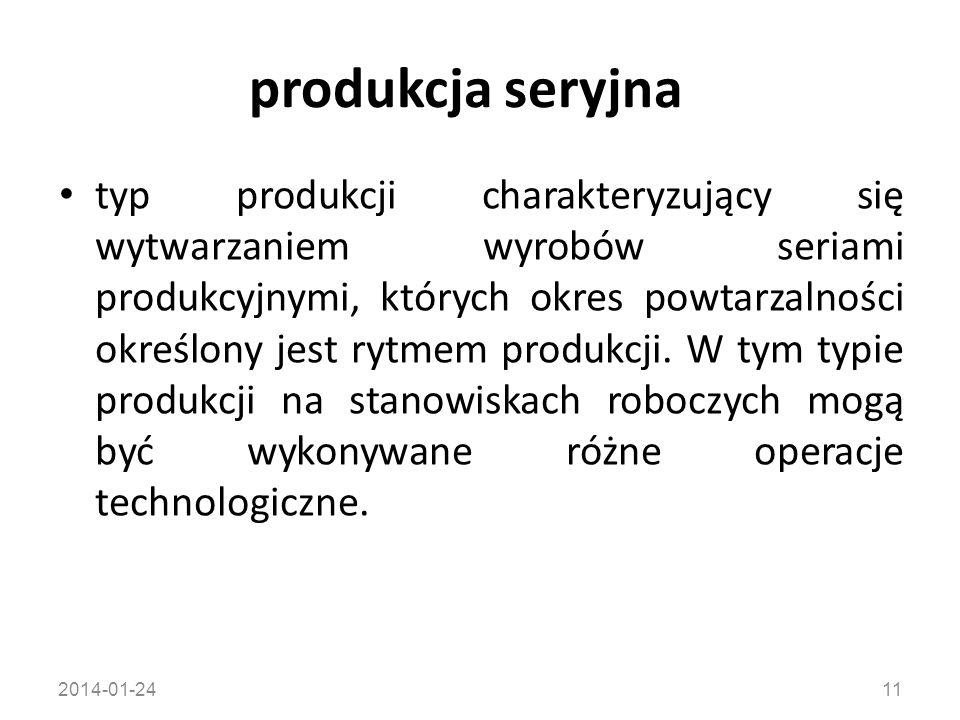 2014-01-2411 produkcja seryjna typ produkcji charakteryzujący się wytwarzaniem wyrobów seriami produkcyjnymi, których okres powtarzalności określony j