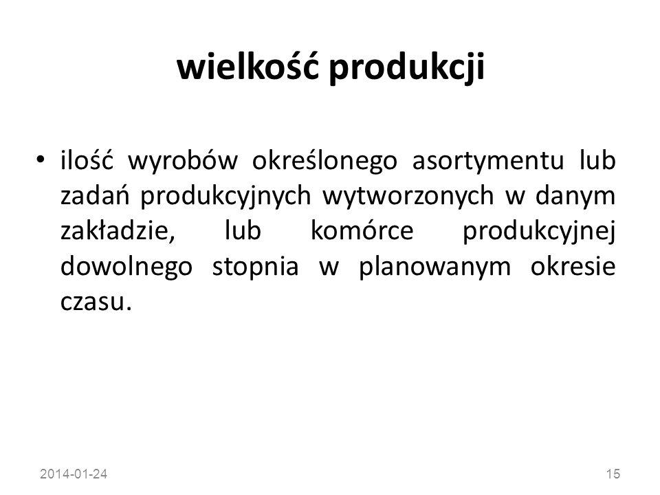 2014-01-2415 wielkość produkcji ilość wyrobów określonego asortymentu lub zadań produkcyjnych wytworzonych w danym zakładzie, lub komórce produkcyjnej