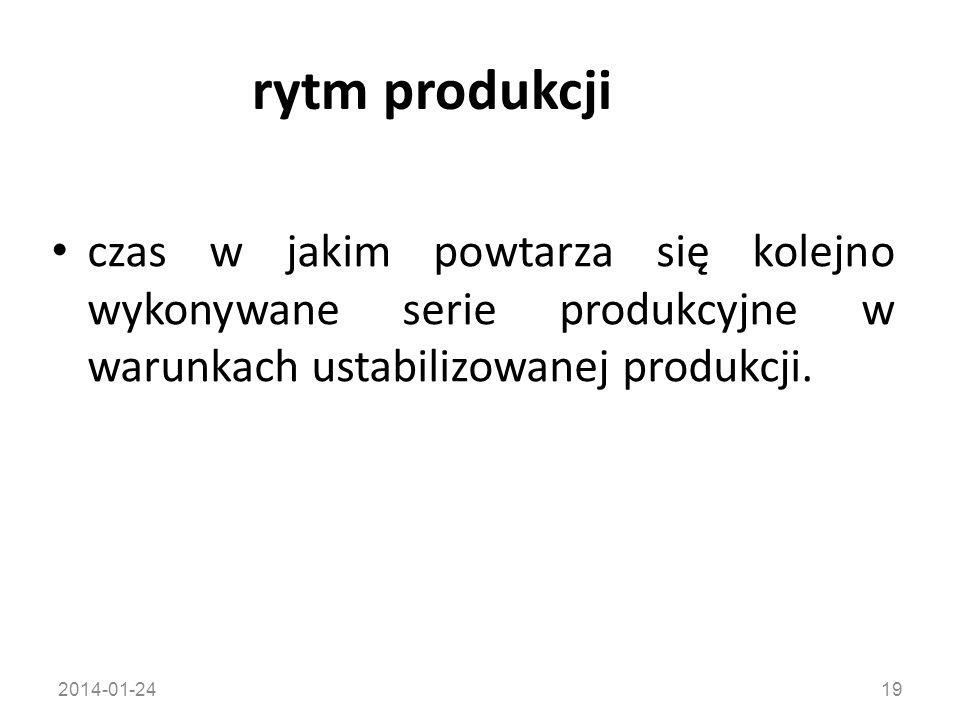 2014-01-2419 rytm produkcji czas w jakim powtarza się kolejno wykonywane serie produkcyjne w warunkach ustabilizowanej produkcji.