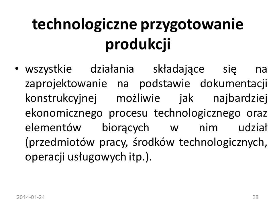 2014-01-2428 technologiczne przygotowanie produkcji wszystkie działania składające się na zaprojektowanie na podstawie dokumentacji konstrukcyjnej moż