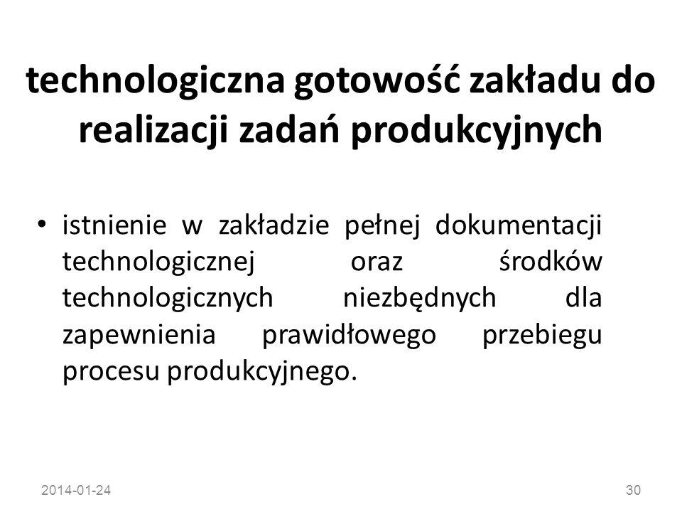 2014-01-2430 technologiczna gotowość zakładu do realizacji zadań produkcyjnych istnienie w zakładzie pełnej dokumentacji technologicznej oraz środków