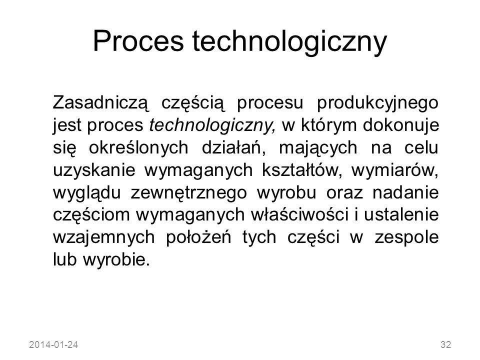 2014-01-2432 Proces technologiczny Zasadniczą częścią procesu produkcyjnego jest proces technologiczny, w którym dokonuje się określonych działań, maj