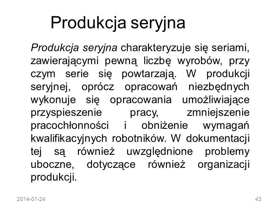 2014-01-2443 Produkcja seryjna Produkcja seryjna charakteryzuje się seriami, zawierającymi pewną liczbę wyrobów, przy czym serie się powtarzają. W pro