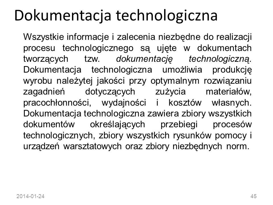 2014-01-2445 Dokumentacja technologiczna Wszystkie informacje i zalecenia niezbędne do realizacji procesu technologicznego są ujęte w dokumentach twor