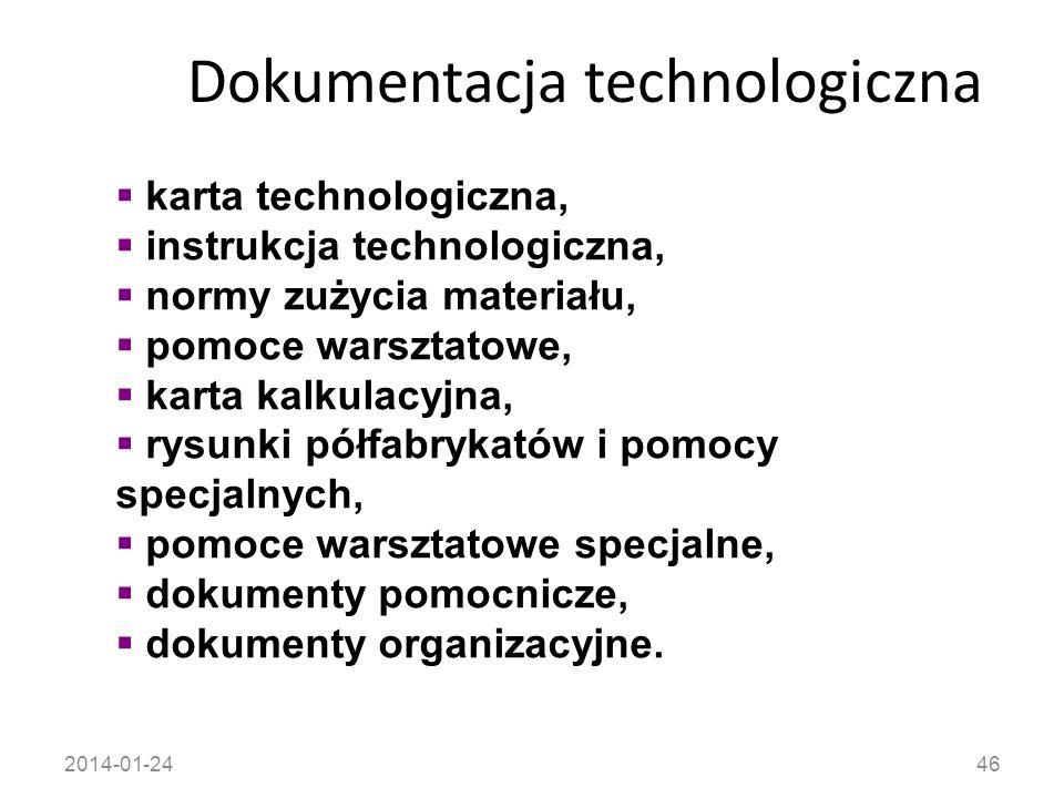 2014-01-2446 Dokumentacja technologiczna karta technologiczna, instrukcja technologiczna, normy zużycia materiału, pomoce warsztatowe, karta kalkulacy