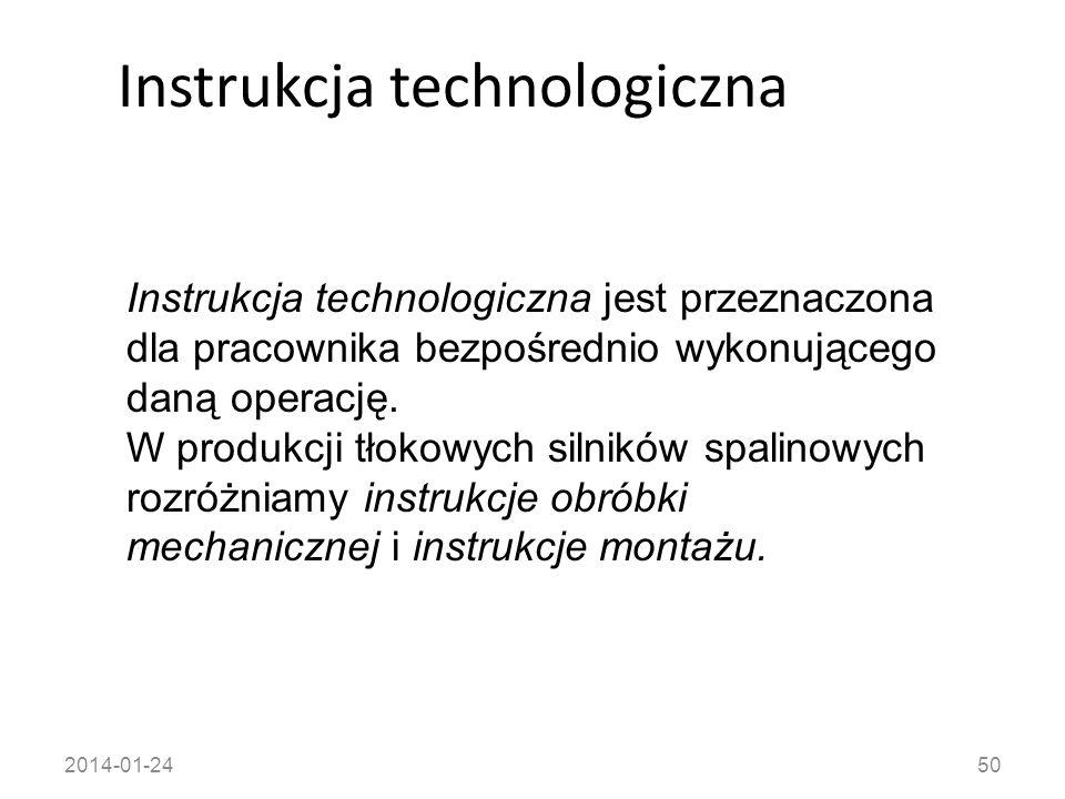 2014-01-2450 Instrukcja technologiczna Instrukcja technologiczna jest przeznaczona dla pracownika bezpośrednio wykonującego daną operację. W produkcji