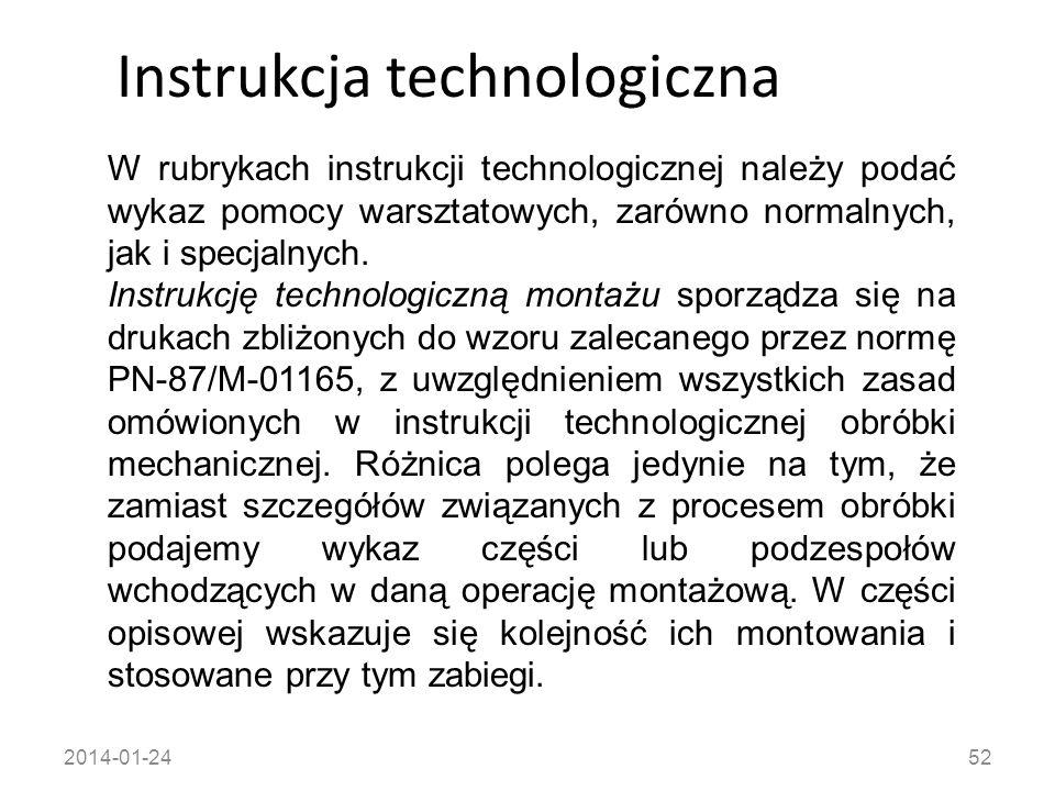2014-01-2452 Instrukcja technologiczna W rubrykach instrukcji technologicznej należy podać wykaz pomocy warsztatowych, zarówno normalnych, jak i specj