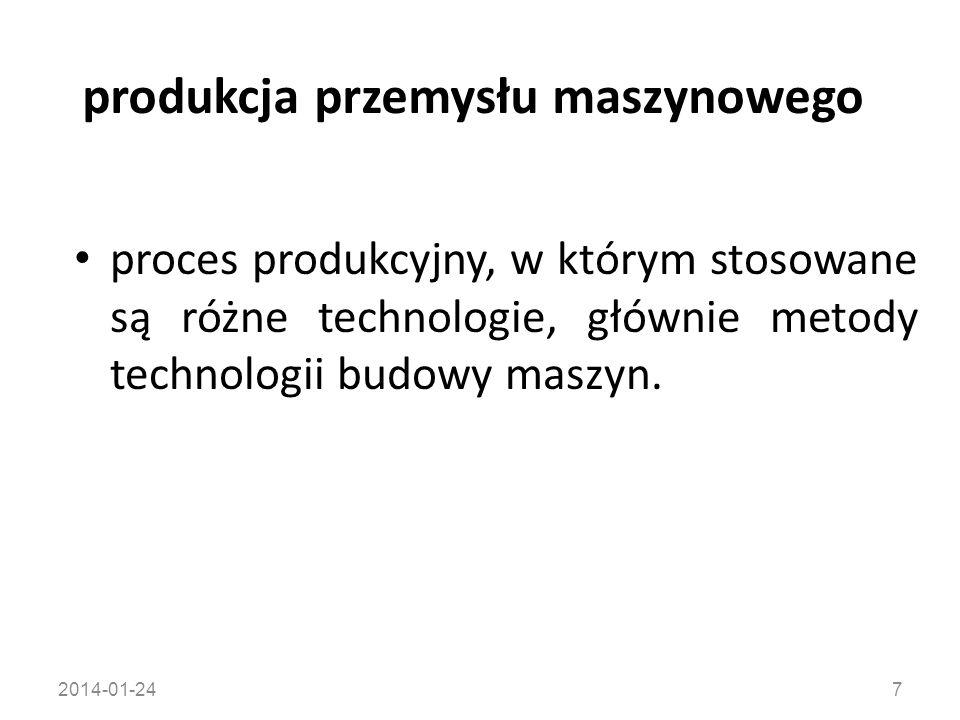 2014-01-2428 technologiczne przygotowanie produkcji wszystkie działania składające się na zaprojektowanie na podstawie dokumentacji konstrukcyjnej możliwie jak najbardziej ekonomicznego procesu technologicznego oraz elementów biorących w nim udział (przedmiotów pracy, środków technologicznych, operacji usługowych itp.).