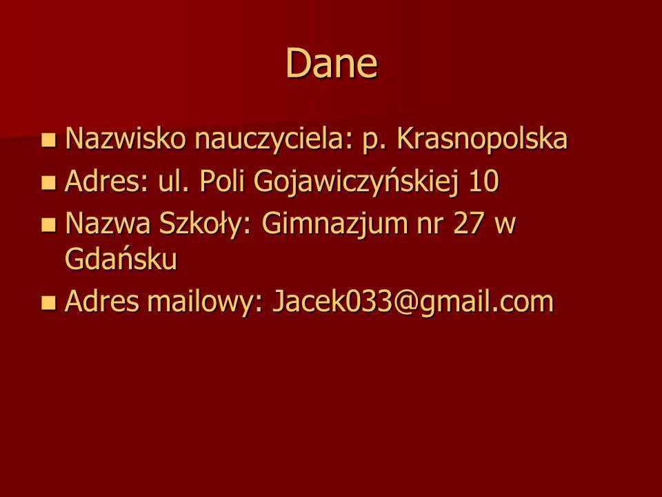Dane Nazwisko nauczyciela: p. Krasnopolska Nazwisko nauczyciela: p. Krasnopolska Adres: ul. Poli Gojawiczyńskiej 10 Adres: ul. Poli Gojawiczyńskiej 10