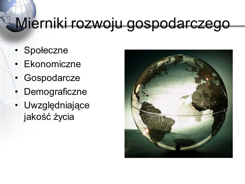 HDI Źródło: Kop J., Kucharska M., Szkurłat E.: Geografia społeczno-ekonomiczna Podręcznik Liceum ogólnokształcące zakres rozszerzony; Wydawnictwo Szkolne PWN, Warszawa 2003