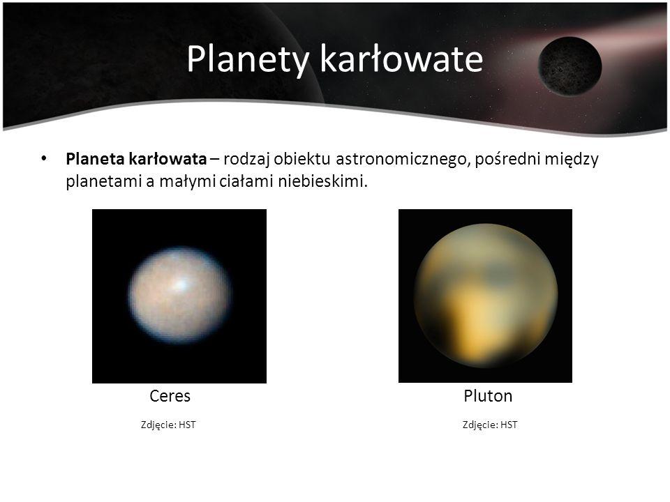 Planety karłowate Planeta karłowata – rodzaj obiektu astronomicznego, pośredni między planetami a małymi ciałami niebieskimi. Ceres Pluton Zdjęcie: HS