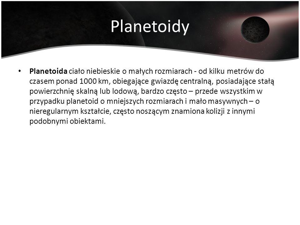 Planetoidy Planetoida ciało niebieskie o małych rozmiarach - od kilku metrów do czasem ponad 1000 km, obiegające gwiazdę centralną, posiadające stałą
