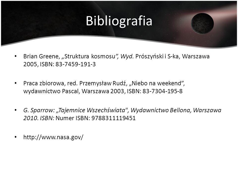 Bibliografia Brian Greene, Struktura kosmosu, Wyd. Prószyński i S-ka, Warszawa 2005, ISBN: 83-7459-191-3 Praca zbiorowa, red. Przemysław Rudź, Niebo n