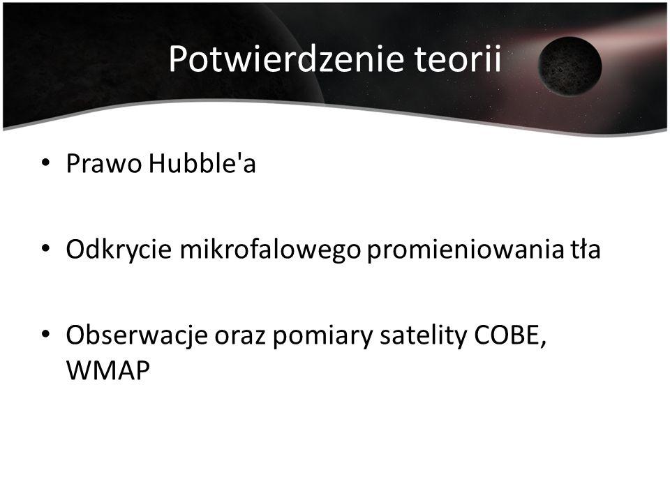 Potwierdzenie teorii Prawo Hubble'a Odkrycie mikrofalowego promieniowania tła Obserwacje oraz pomiary satelity COBE, WMAP
