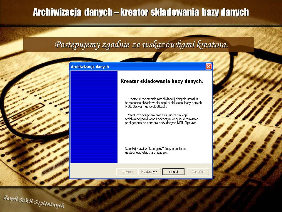 Archiwizacja – składowanie danych Po każdym dniu pracy zalecana jest tzw. Szybka archiwizacja danych. W tym celu klikamy na przycisk INNE, następnie n