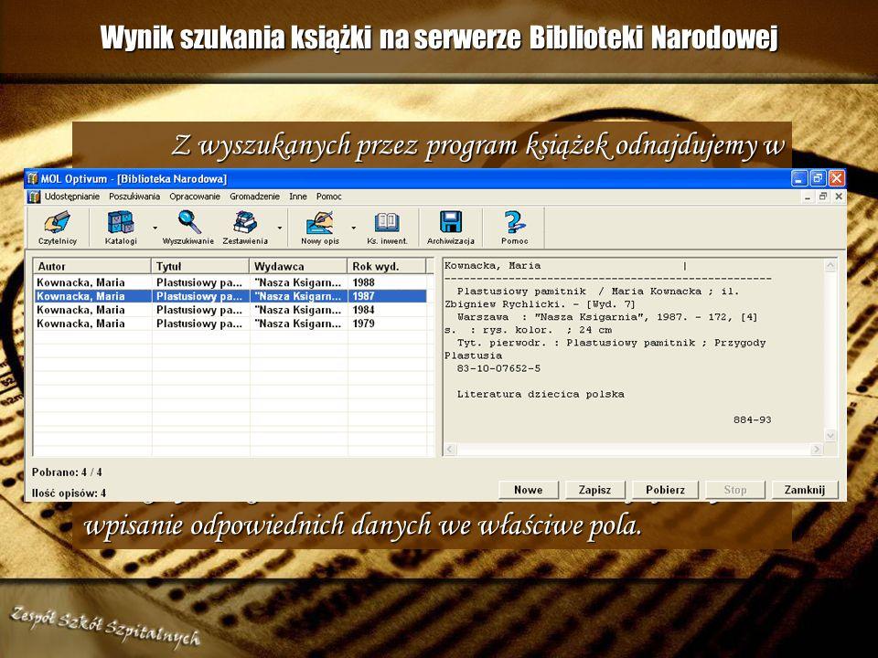 Wyszukiwanie książki przez Internet na serwerze Biblioteki Narodowej poprzez wpisanie ISBN-u