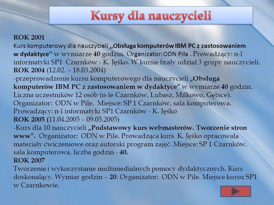 ROK 2001 Kurs komputerowy dla nauczycieli,,Obsługa komputerów IBM PC z zastosowaniem w dydaktyce'' w wymiarze 40 godzin. O rganizator: ODN Piła. Prowa