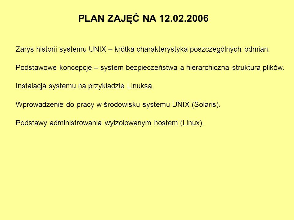 PLAN ZAJĘĆ NA 12.02.2006 Zarys historii systemu UNIX – krótka charakterystyka poszczególnych odmian. Podstawowe koncepcje – system bezpieczeństwa a hi