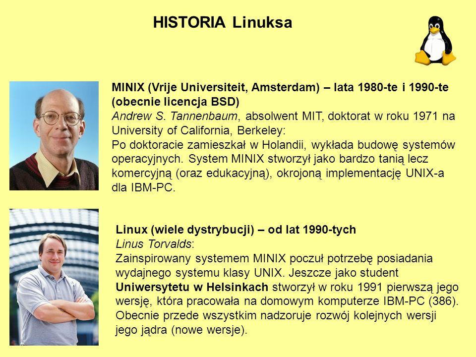 HISTORIA Linuksa MINIX (Vrije Universiteit, Amsterdam) – lata 1980-te i 1990-te (obecnie licencja BSD) Andrew S. Tannenbaum, absolwent MIT, doktorat w