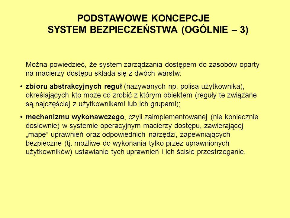 PODSTAWOWE KONCEPCJE SYSTEM BEZPIECZEŃSTWA (OGÓLNIE – 3) Można powiedzieć, że system zarządzania dostępem do zasobów oparty na macierzy dostępu składa