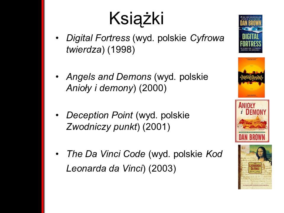 Książki Digital Fortress (wyd. polskie Cyfrowa twierdza) (1998) Angels and Demons (wyd. polskie Anioły i demony) (2000) Deception Point (wyd. polskie