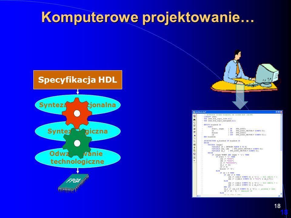 18 Specyfikacja HDL Synteza funkcjonalna Synteza logiczna Odwzorowanie technologiczne 18 Komputerowe projektowanie…