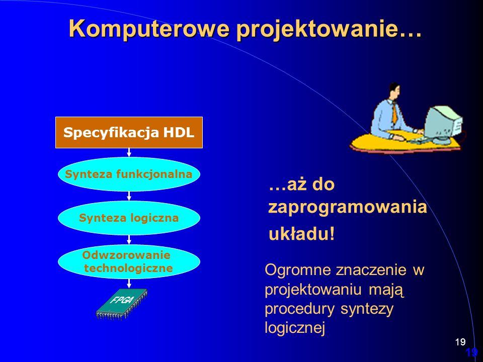 19 Specyfikacja HDL Synteza funkcjonalna Synteza logiczna Odwzorowanie technologiczne 19 Komputerowe projektowanie… …aż do zaprogramowania układu! Ogr