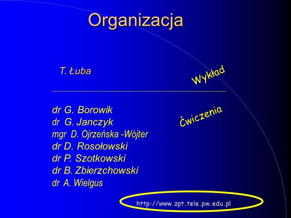 Organizacja Wykład Ćwiczenia http://www.zpt.tele.pw.edu.pl dr G. Borowik dr G. Janczyk mgr D. Ojrzeńska -Wójter dr D. Rosołowski dr P. Szotkowski dr B