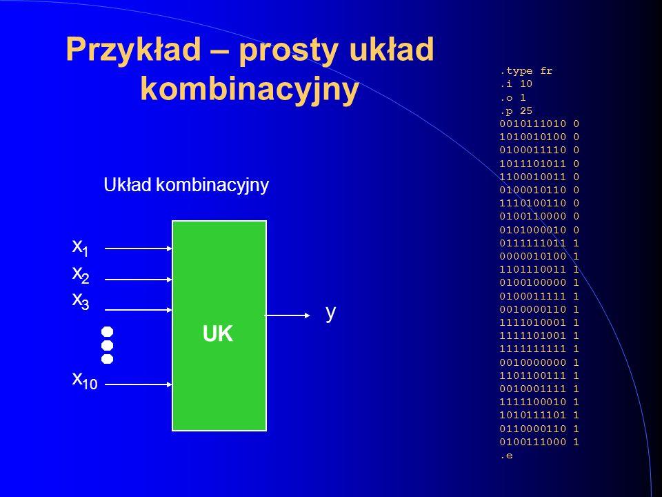 Przykład – prosty układ kombinacyjny.type fr.i 10.o 1.p 25 0010111010 0 1010010100 0 0100011110 0 1011101011 0 1100010011 0 0100010110 0 1110100110 0