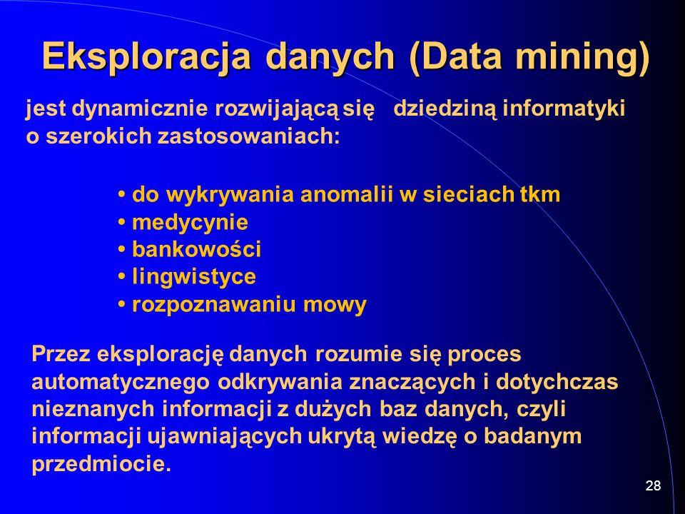 28 Eksploracja danych (Data mining) Eksploracja danych (Data mining) jest dynamicznie rozwijającą się dziedziną informatyki o szerokich zastosowaniach