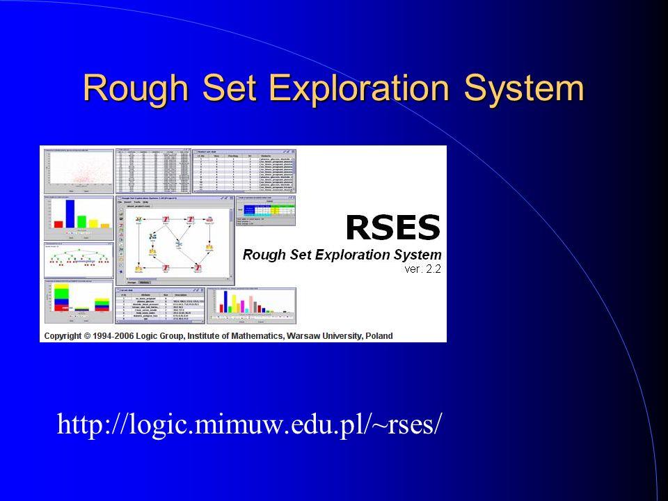 Rough Set Exploration System http://logic.mimuw.edu.pl/~rses/