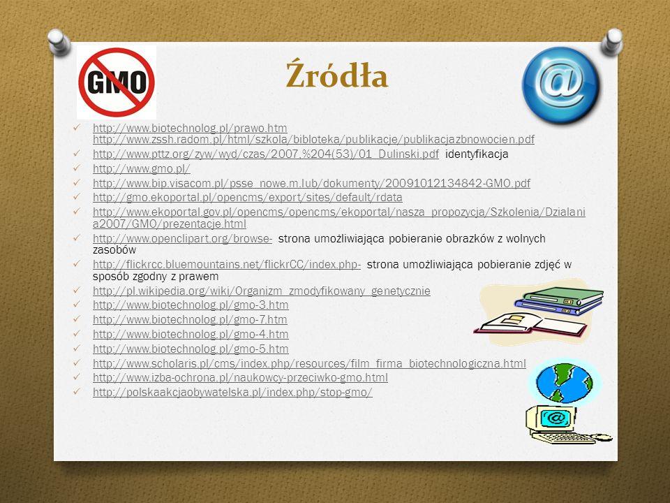 Źródła http://www.biotechnolog.pl/prawo.htm http://www.zssh.radom.pl/html/szkola/bibloteka/publikacje/publikacjazbnowocien.pdf http://www.biotechnolog