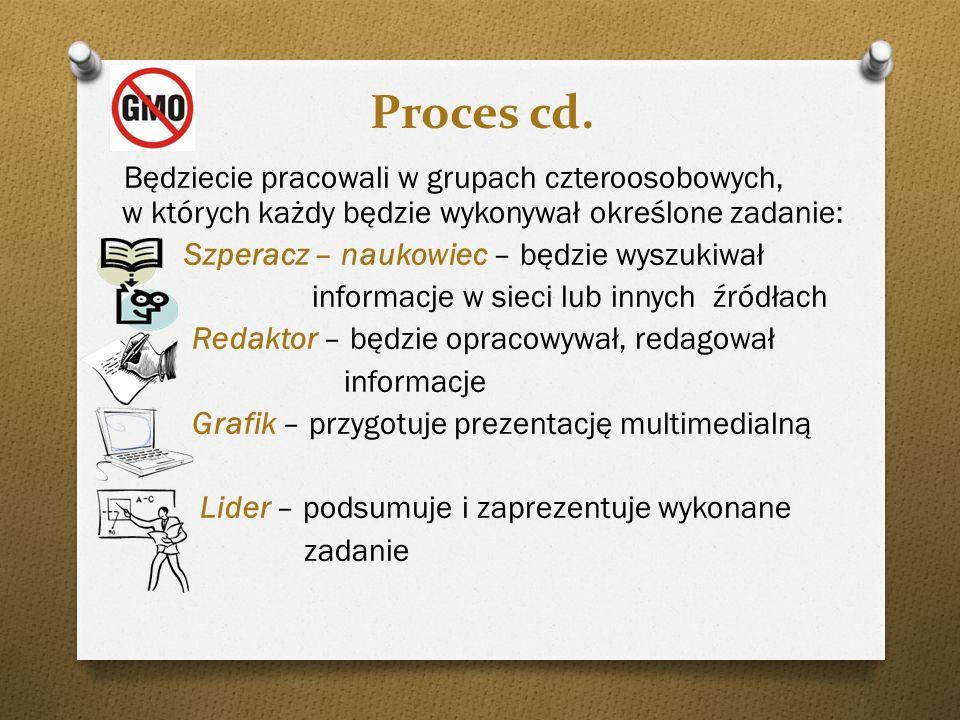 Proces cd. Będziecie pracowali w grupach czteroosobowych, w których każdy będzie wykonywał określone zadanie: Szperacz – naukowiec – będzie wyszukiwał