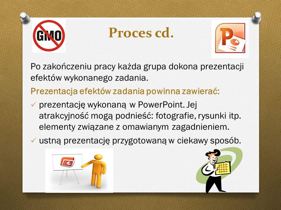 Proces cd. Po zakończeniu pracy każda grupa dokona prezentacji efektów wykonanego zadania. Prezentacja efektów zadania powinna zawierać: prezentację w