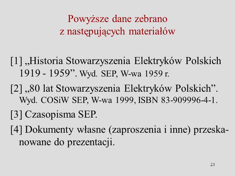 23 Powyższe dane zebrano z następujących materiałów [1] Historia Stowarzyszenia Elektryków Polskich 1919 - 1959.