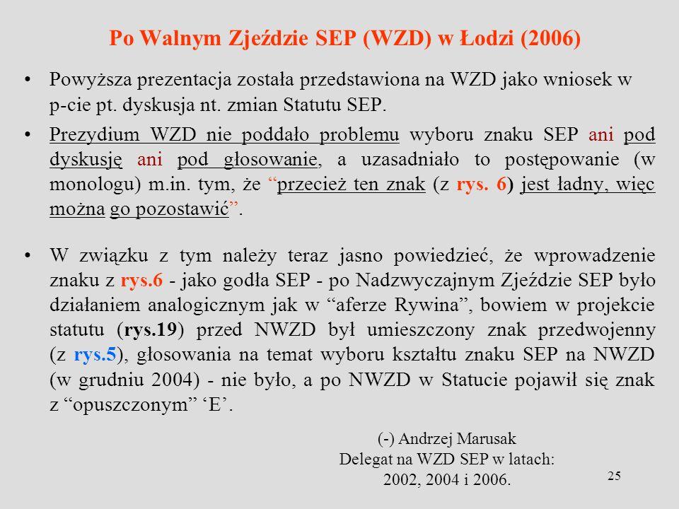 25 Po Walnym Zjeździe SEP (WZD) w Łodzi (2006) Powyższa prezentacja została przedstawiona na WZD jako wniosek w p-cie pt. dyskusja nt. zmian Statutu S