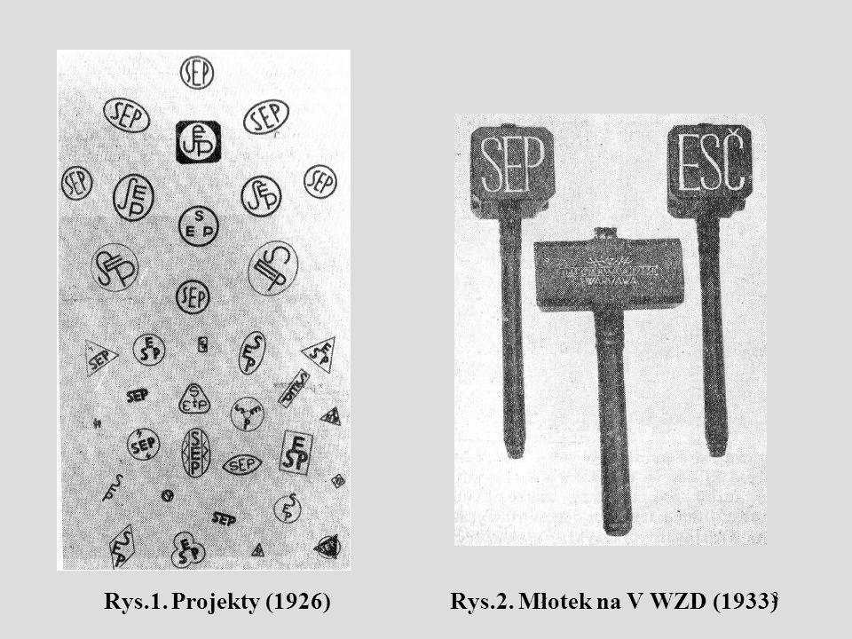 3 Rys.1. Projekty (1926) Rys.2. Młotek na V WZD (1933)
