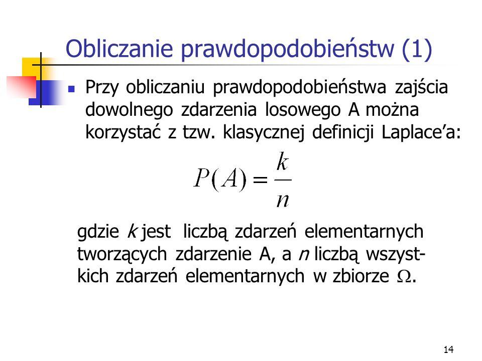 14 Obliczanie prawdopodobieństw (1) Przy obliczaniu prawdopodobieństwa zajścia dowolnego zdarzenia losowego A można korzystać z tzw. klasycznej defini