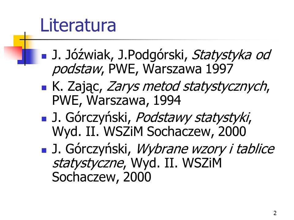 2 Literatura J. Jóźwiak, J.Podgórski, Statystyka od podstaw, PWE, Warszawa 1997 K. Zając, Zarys metod statystycznych, PWE, Warszawa, 1994 J. Górczyńsk