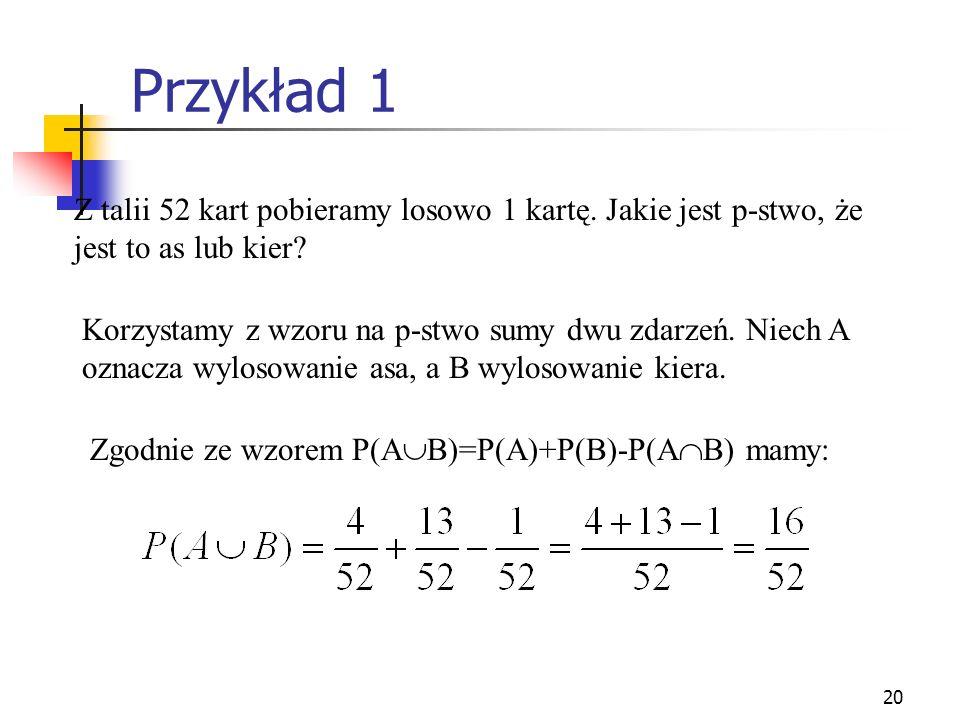 20 Przykład 1 Z talii 52 kart pobieramy losowo 1 kartę. Jakie jest p-stwo, że jest to as lub kier? Korzystamy z wzoru na p-stwo sumy dwu zdarzeń. Niec