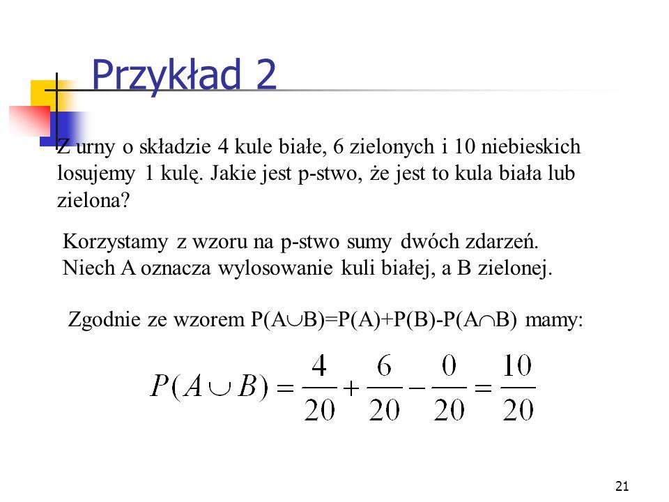 21 Przykład 2 Z urny o składzie 4 kule białe, 6 zielonych i 10 niebieskich losujemy 1 kulę. Jakie jest p-stwo, że jest to kula biała lub zielona? Korz