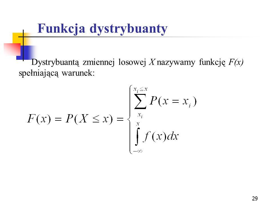 29 Funkcja dystrybuanty Dystrybuantą zmiennej losowej X nazywamy funkcję F(x) spełniającą warunek: