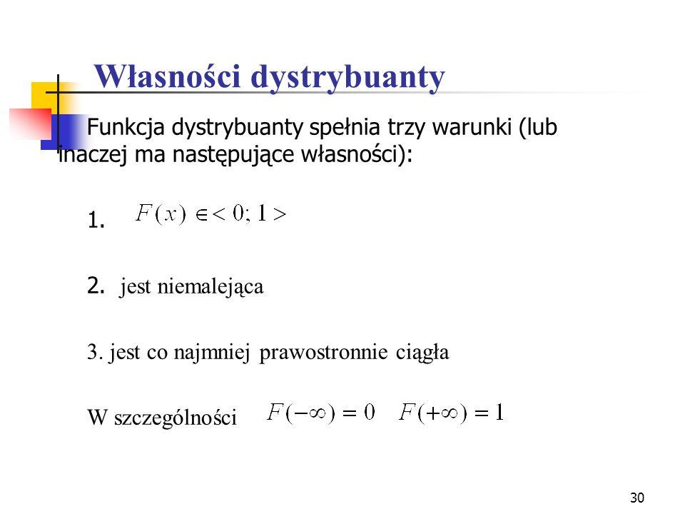 30 Własności dystrybuanty Funkcja dystrybuanty spełnia trzy warunki (lub inaczej ma następujące własności): 1. 2. jest niemalejąca 3. jest co najmniej