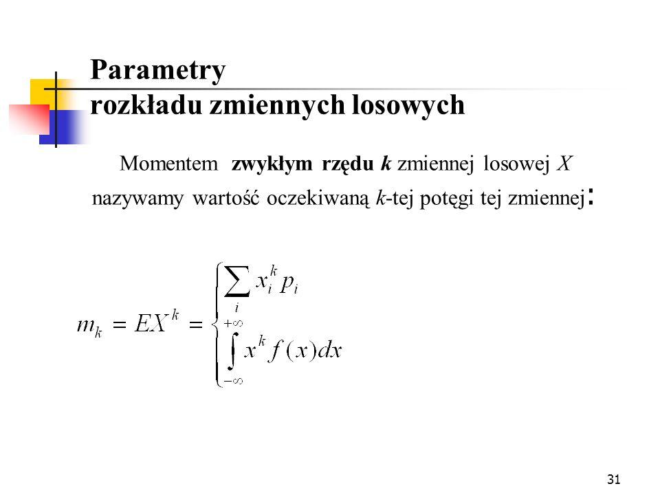 31 Momentem zwykłym rzędu k zmiennej losowej X nazywamy wartość oczekiwaną k-tej potęgi tej zmiennej : Parametry rozkładu zmiennych losowych