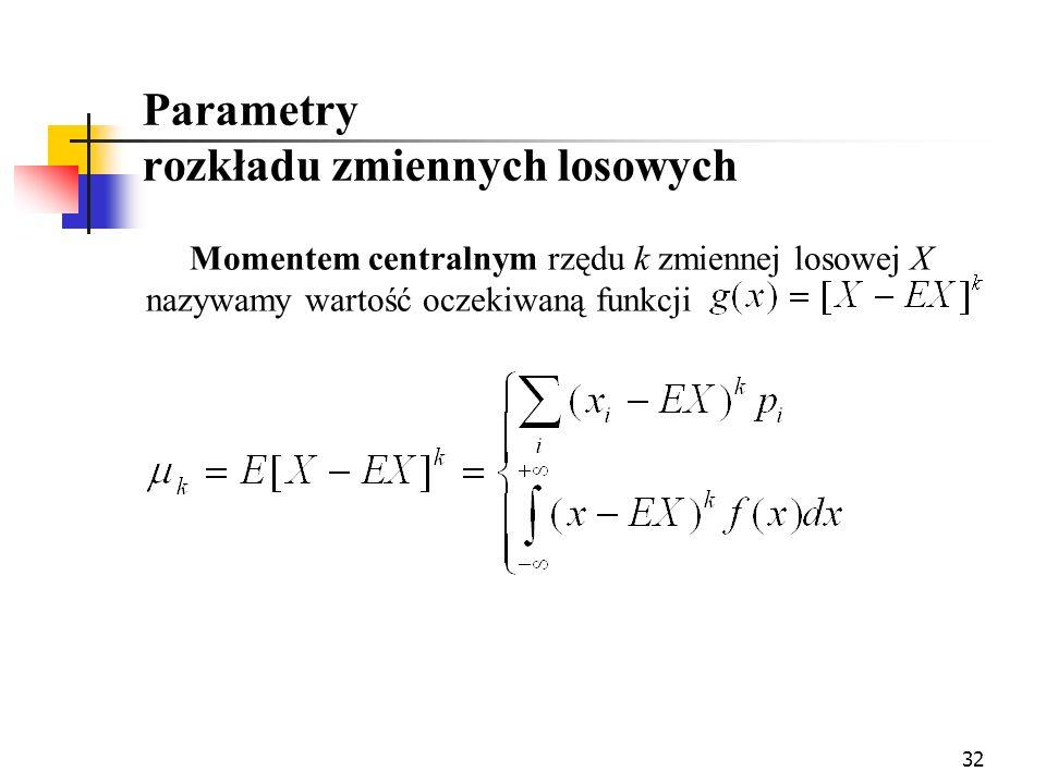 32 Parametry rozkładu zmiennych losowych Momentem centralnym rzędu k zmiennej losowej X nazywamy wartość oczekiwaną funkcji