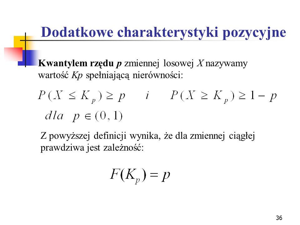 36 Dodatkowe charakterystyki pozycyjne Kwantylem rzędu p zmiennej losowej X nazywamy wartość Kp spełniającą nierówności: Z powyższej definicji wynika,