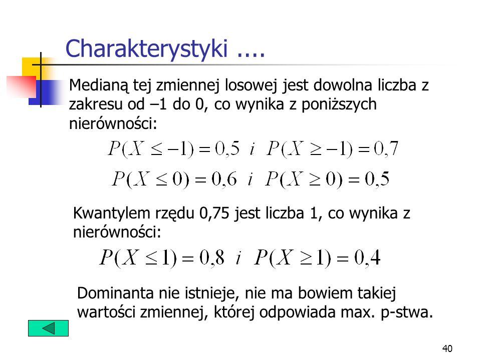40 Charakterystyki.... Medianą tej zmiennej losowej jest dowolna liczba z zakresu od –1 do 0, co wynika z poniższych nierówności: Kwantylem rzędu 0,75