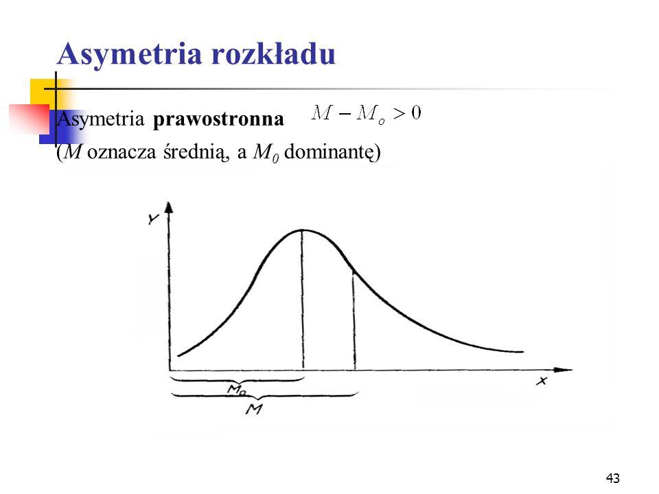 43 Asymetria rozkładu Asymetria prawostronna (M oznacza średnią, a M 0 dominantę)