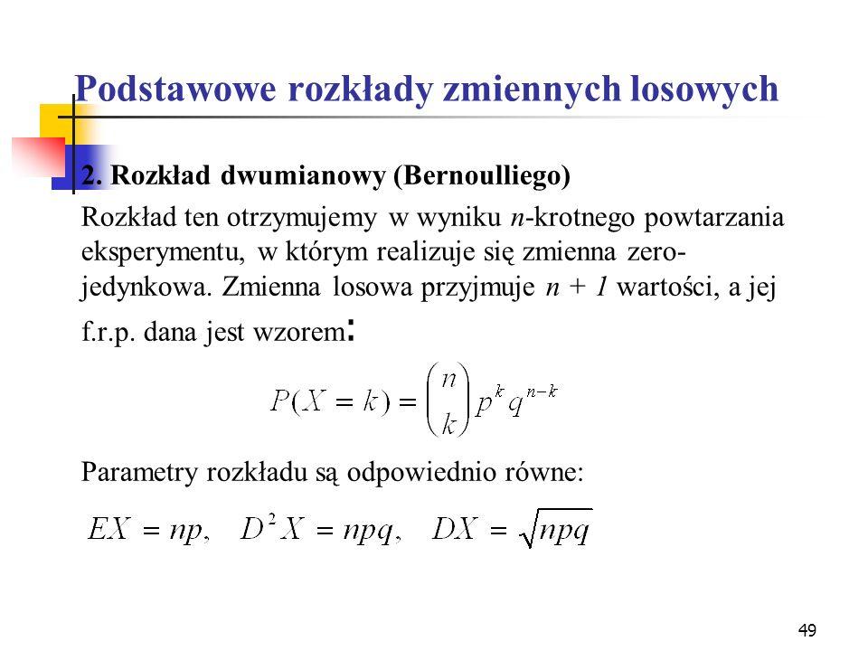 49 Podstawowe rozkłady zmiennych losowych 2. Rozkład dwumianowy (Bernoulliego) Rozkład ten otrzymujemy w wyniku n-krotnego powtarzania eksperymentu, w