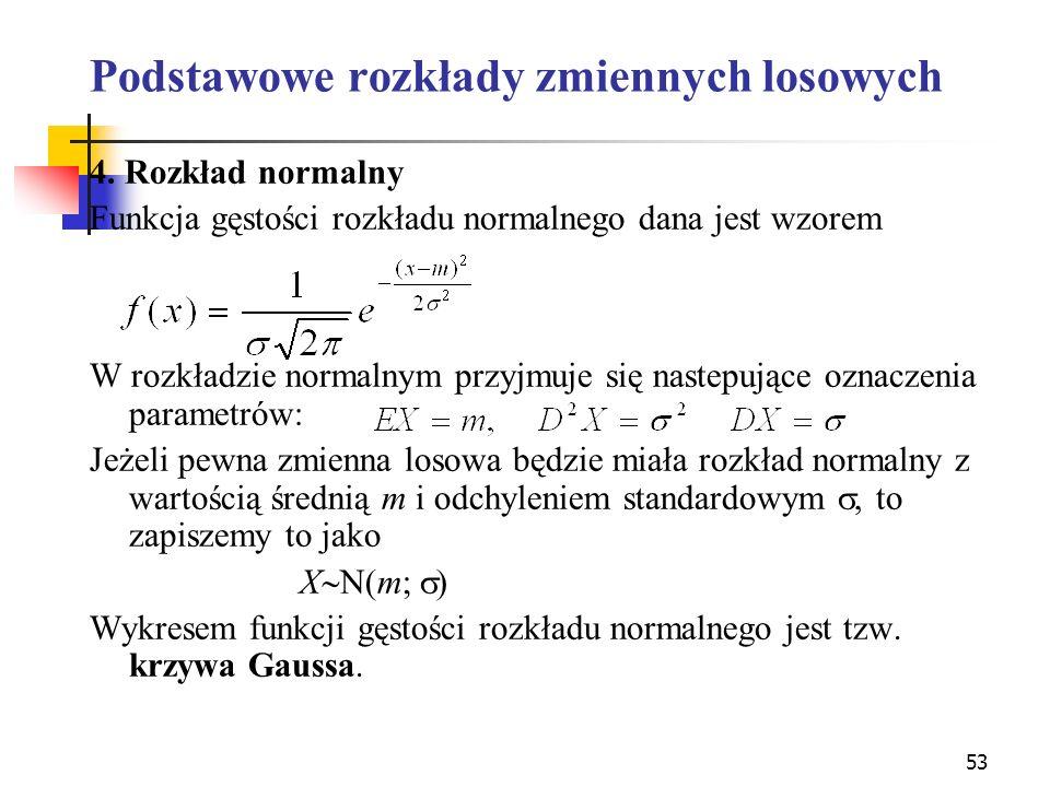 53 Podstawowe rozkłady zmiennych losowych 4. Rozkład normalny Funkcja gęstości rozkładu normalnego dana jest wzorem W rozkładzie normalnym przyjmuje s